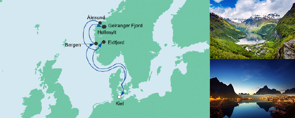 Routenverlauf Norwegens Fjorde 4 am 01.09.2019