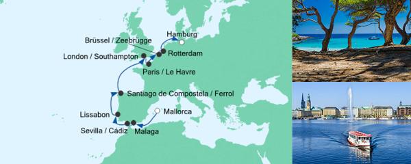 AIDA Traumstart um 12 Angebot Von Mallorca nach Hamburg