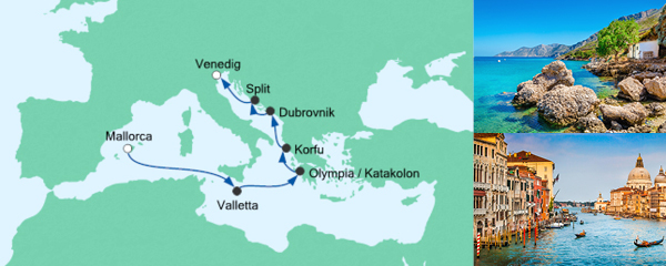 AIDA Traumstart um 12 Angebot Ostern von Mallorca nach Venedig