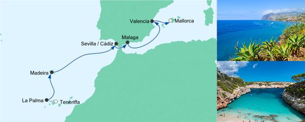 AIDA Traumstart um 12 Angebot Von Teneriffa nach Mallorca 1