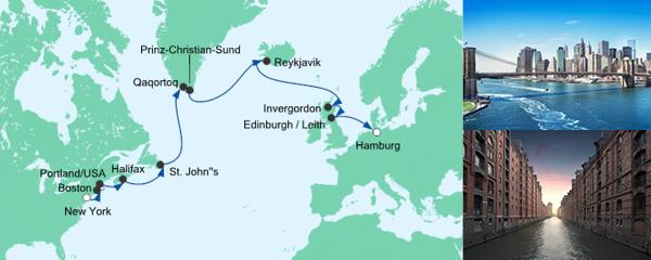Routenverlauf Von New York nach Hamburg am 16.08.2019
