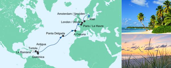 AIDA Traumstart um 12 Angebot Von der Dominikanischen Republik nach Kiel