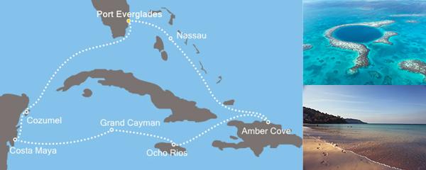 Routenverlauf Magische Karibik am 22.01.2019