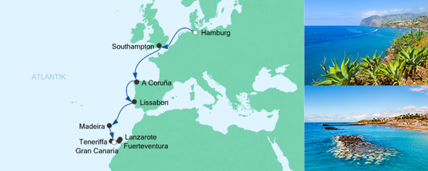 AIDA Pauschal Angebot Jungfernfahrt von Hamburg nach Gran Canaria