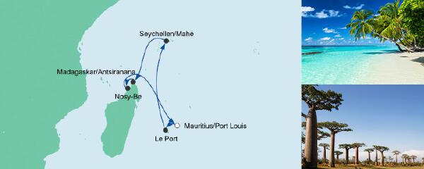 Routenverlauf Mauritius, Seychellen & Madagaskar 2 am 02.02.2021