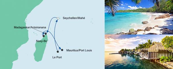 Routenverlauf Mauritius, Seychellen & Madagaskar 3 am 17.11.2020