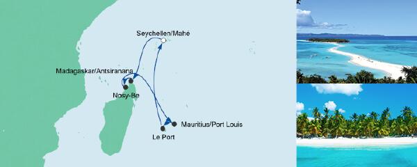Routenverlauf Mauritius, Seychellen & Madagaskar 3 am 09.02.2021