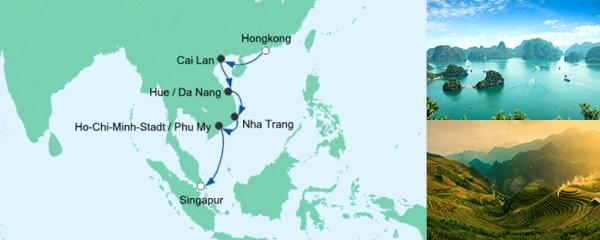 Routenverlauf Große Vietnam-Reise am 20.01.2022