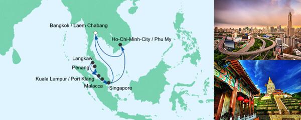 AIDA Pauschal Angebot Silvesterreise nach Thailand, Malaysia & Singapur