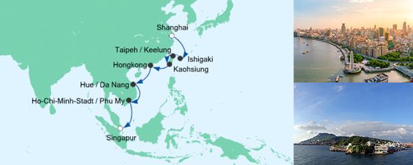 AIDA Spezialangebot Von Shanghai nach Singapur