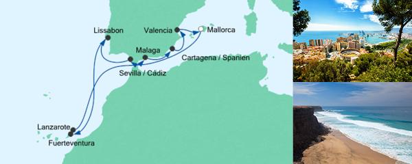 AIDA Wochenendeinkauf Angebot Spanien, Portugal & Kanaren