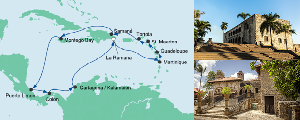 Routenverlauf Karibik & Mittelamerika 1 am 09.03.2019