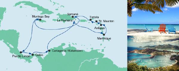 Routenverlauf Karibik & Mittelamerika 1 am 26.01.2019