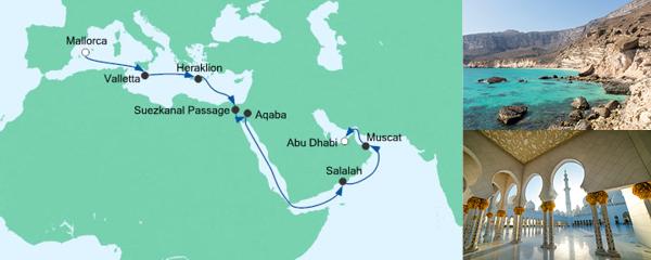 AIDA Seetours Angebot Von Mallorca nach Abu Dhabi