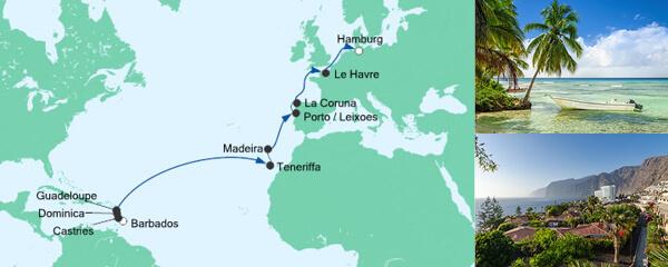 AIDA Seetours Angebot Von Barbados nach Hamburg