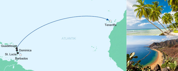 AIDA Seetours Angebot Von Barbados nach Teneriffa