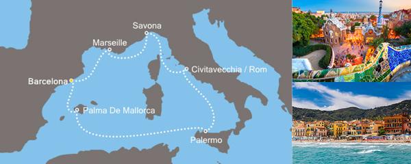 Routenverlauf Zauberhaftes Mittelmeer am 25.02.2019