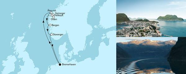 Routenverlauf Norwegen mit Geirangerfjord I am 02.06.2019