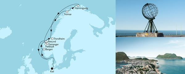 Routenverlauf Norwegen mit Nordkap I am 28.07.2019
