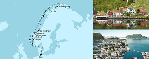 Routenverlauf Norwegen mit Nordkap III am 20.06.2019