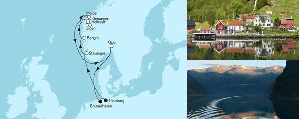 Routenverlauf Norwegen mit Geirangerfjord II am 20.06.2019