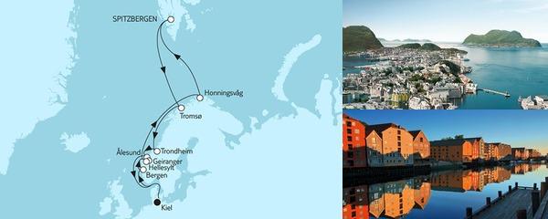 Routenverlauf Norwegen mit Spitzbergen II am 30.06.2019