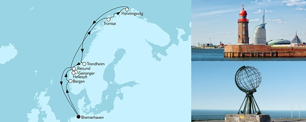 Routenverlauf Norwegen mit Nordkap IV am 20.07.2019