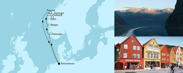 Routenverlauf Norwegen mit Geirangerfjord I am 08.08.2019