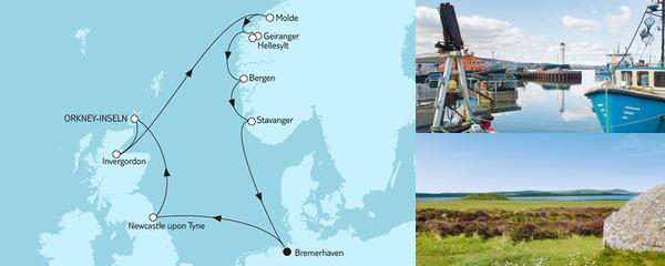 Routenverlauf Norwegen mit Geirangerfjord & Schottland am 23.08.2019
