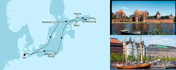 Routenverlauf Ostsee mit St. Petersburg & Danzig I am 27.05.2019