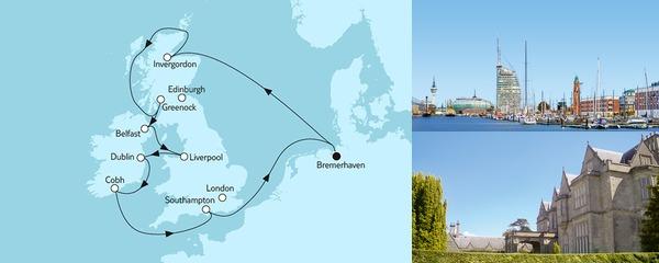 Routenverlauf Großbritannien ab Bremerhaven II am 27.07.2019