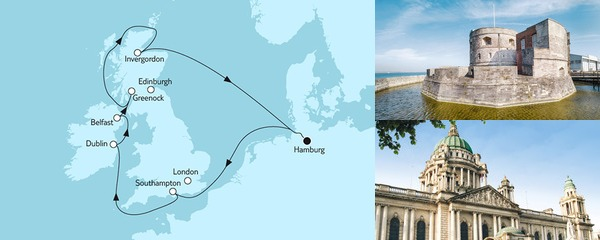 Routenverlauf Großbritannien ab Hamburg I am 04.09.2019