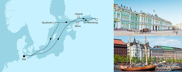 Routenverlauf Ostsee mit St. Petersburg III am 22.06.2019
