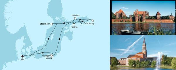 Routenverlauf Ostsee mit St. Petersburg & Danzig II am 21.07.2019