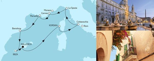 Routenverlauf Mittelmeer mit Ibiza am 26.08.2019