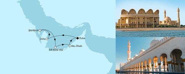 Routenverlauf Dubai mit Bahrain am 20.10.2019
