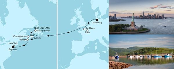 Routenverlauf Hamburg bis New York am 04.09.2019