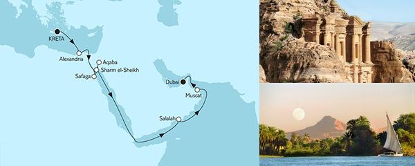 Routenverlauf Kreta bis Dubai I am 04.10.2019