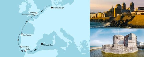 9 Tage Mallorca bis Bremerhaven mit der Mein Schiff 3