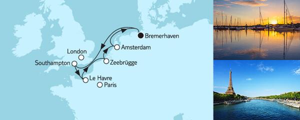 Routenverlauf Westeuropa mit Amsterdam II am 26.05.2019
