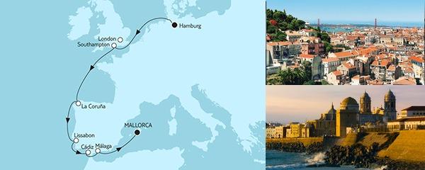 Routenverlauf Hamburg bis Mallorca am 14.09.2019