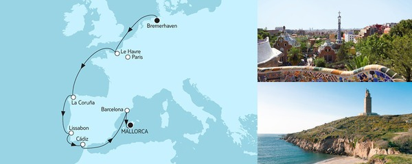 Routenverlauf Bremerhaven bis Mallorca III am 03.10.2019