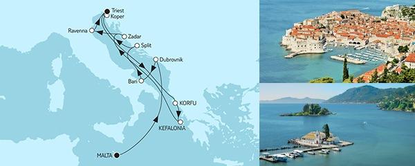Routenverlauf Adria mit Dubrovnik & Korfu am 01.09.2019