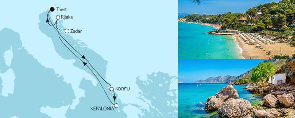 Routenverlauf Adria mit Korfu am 16.06.2019