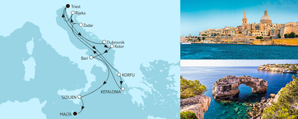 Routenverlauf Adria mit Korfu & Sizilien am 14.07.2019