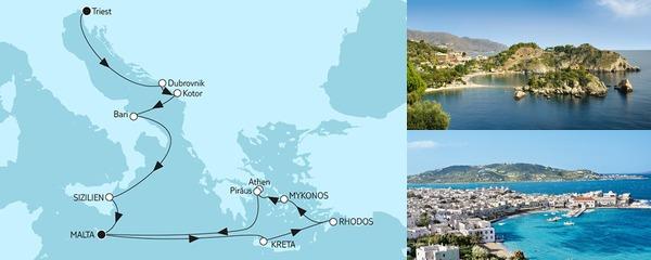 Routenverlauf Adria mit Sizilien & Griechenland I am 15.09.2019