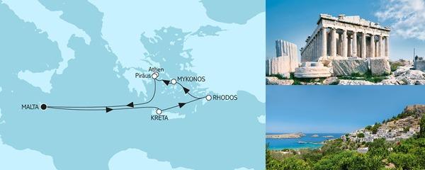 Routenverlauf Griechenland ab Malta am 28.07.2019