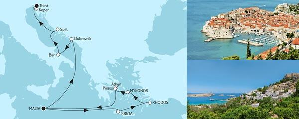 Routenverlauf Griechenland mit Adria & Dubrovnik am 30.06.2019