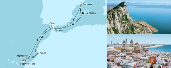 Routenverlauf Mittelmeer mit Kanaren II am 29.09.2019