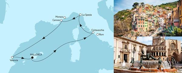Routenverlauf Mittelmeer mit Valencia am 11.10.2019